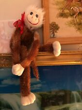 "Vintage Dan Dee Plush Valentine Hugging Monkey- With Original Back Tag 20"" Long"