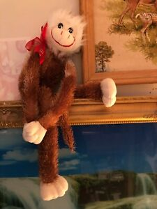 "Vintage Dan Dee Plush Valentine Hugging Monkey- With Original Back Tag 20"" Long"