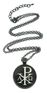 "Chi Rho Alpha Omega Symbol Pendant Black 22"" Chain Necklace Glass Metal Jewelry"