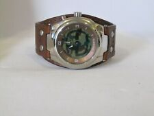Fossil BG-2143 Men's Watch Camouflage Scrolling Big Tic Brown Leather Cuff