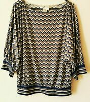 MAX STUDIO Shirt Gemustert Ballonshirt Gr. L Oversize Polyester   #966
