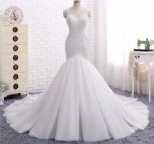 UK Hot Summer White/Ivory Mermaid Vestidos De Novia Wedding Dress   Size 6-20