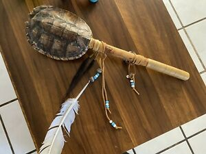 NATIVE AMERICAN TURTLE RATTLE, AMERICAN INDIAN CEREMONIAL RATTLE
