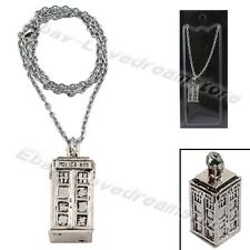 """Doctor Who Tardis Policy Box 32cm/12.8"""" Metal Necklace Charming Chain New In Box"""