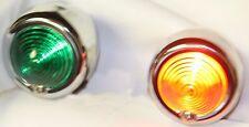 2X Dixie 12V Chrome Bullet Style Red / Green Nautical Style Light Set