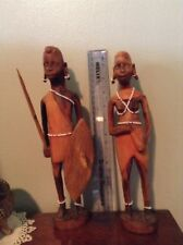 Vintage Hand Carved Decorative African Tribal Warrior Couple Statue