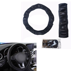 Black Artificial Leather Car Steering Wheel Cover Protector for BMW Ford Toyota