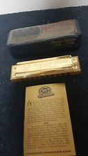 Vintage Harmonica Hohner Marine Band 1896 Limited Edition Gold Plated Key C Mint