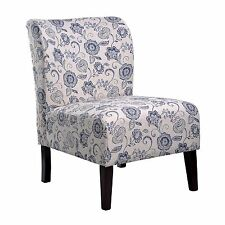 Nathaniel Home Khloe Blue Flora Accent Slipper Chair