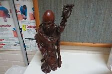 Antique Vintage Carved RoseWood Chinese Shou Lao God Longevity Figure Statue 2