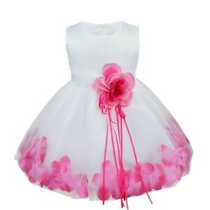 Kids Girls Petals Wedding Flower Dress Birthday Party Ball Gown Communion Maxi