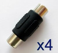 4x Coupleur adaptateur RCA Femelle/Femelle- 4x RCA coupler adapter Female/Female