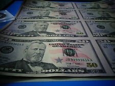 16 UNCUT SHEET $ 50 - $50x16Legal USA $ 50 DOLLAR*Real Currency Note*Rare Money