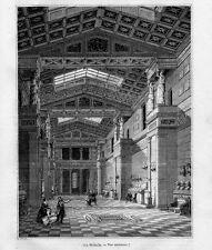 Stampa antica WALHALLA interno Regensburg Germania 1844 Alte Stich Antique Print