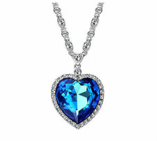 Made With Shiny Swarovski Crystal Ocean Blue Heart Zircon Necklace Pendant