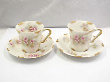 Theodore Haviland Limoges 2 Pink & Yellow Floral Demitasse Tea Cups & Saucers