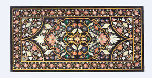 5'x3' Black Marble Dining Table Top Pietra Dura Floral Inlay Art Home Decor B506