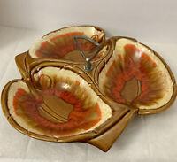 MCM VTG Maurice of California Pottery Orange Brown Leaves Relish Serving Dish 87