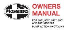 Mossberg 500 505 535 590 & 835 Pump Shotgun Instruction and Maintenance Manual