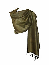 Echarpe Etole fine - arabesque motif cachemire ton / ton - Vert bronze  Noir