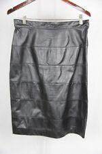 Vintage 1980  Black leather straight skirt horizontal seams , back button 42