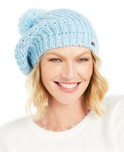 Steve Madden Womens Knit Light Blue Beret Pom Pom Hat One size