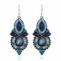 Tibetan Silver Turquoise Blue Bead Earrings Vintage Drop Dangle BOHO Festival