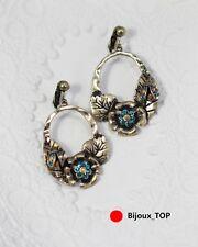 Boucles d'Oreilles Fleur Beatles Vert Cristal Feuille Metallique Retro CC 2