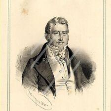 Portrait de Jacques Laffitte - Lithographie originale XIXème