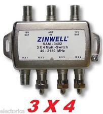 3X4 ZINWELL SAM-3402 SW34 MULTI-SWITCH For: LNB  DIRECTV 2X4 BELL DISH SATELLITE