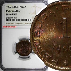 India-Portuguese Bronze 1952 Tanga, 60 Reis NGC MS65 BN TOP GRADED KM# 28 (042)