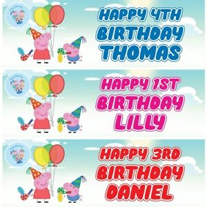 2 Personalised Peppa Pig Party Birthday Celebration Banners Decoration Posters