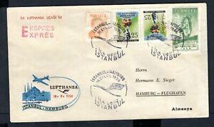 Turkey - 1956 Lufthansa First Flight Airmail Cover to Hamburg, Germany