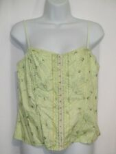 """""""Heart Soul"""" Womens Embroidered Front Closure Cami Style Top Green XL NEW"""