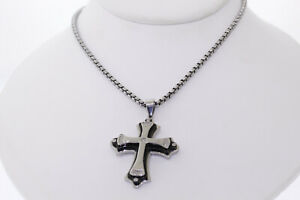Shaquille O'Neal .05ctw Diamond Two-Tone Stainless Steel Stacked Cross Necklace