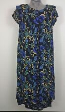 Blue flowered dress with front panels 14?  please see measurements and pictures