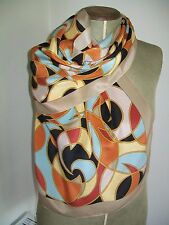 BOLD & STRIKING VIBRANT GEOMETRIC DESIGN SILK SCARF. NEW WITH TAGS !