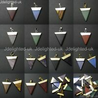 Natural Gemstone Triangle Pointed Sliced Reiki Chakra Healing Pendant Beads Pick