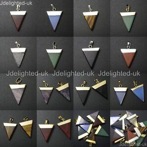 Natural Gemstone Triangle Pointed Sliced Reiki Chakra Healing Pendant Beads Pick