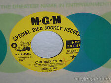 """MAMIE LEE Come Back To Me/My Funny Valentine 7"""" 45 MGM K13551 PROMO vinyl"""