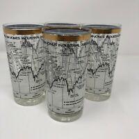 Vintage Cera 1958-1968  10 Year Dow Jones Stock Market Highball Glasses Tumblers