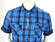 Buffalo David Bitton Plaid Premium Shirt Blue Cotton Roll Short Sleeve Mens M