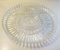 Mid-Century Clear Glass 4 Section Appetizer Serving Tray