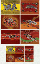 "Tableware Set: 12 piece: Coasters/Placemats - Aboriginal Art ""Outback Wanderers"""