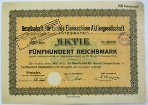 GERMANY Linde`s Eismaschinen / Ice Machines AG 500 Reichsmark 1924 Share *