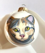 Calico Cat Kitten Christmas Ornament - Hand Painted Glass, Signed by Artist