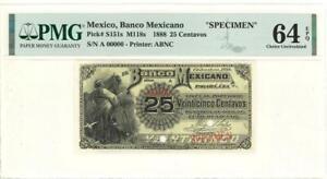 Mexico 25 Centavos Banco Mexicano Banknote 1888 SPECIMEN PMG 64 CHOICE UNC EPQ