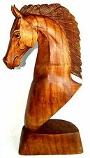 Hand Carved Wooden 10 Inch Horse Head Bust Western Statue Sculpture Art Portrait