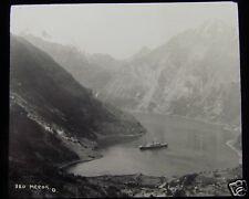 Glass Magic Lantern Slide STEAM SHIP ORONSAY AT MEROK 1926 NORWAY L77