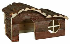Natural Wooden Hanna House with Curved Roof for Rats Degus Guinea Pigs